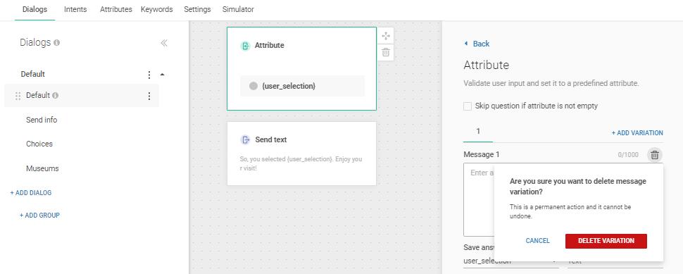 Delete message field in Attribute element