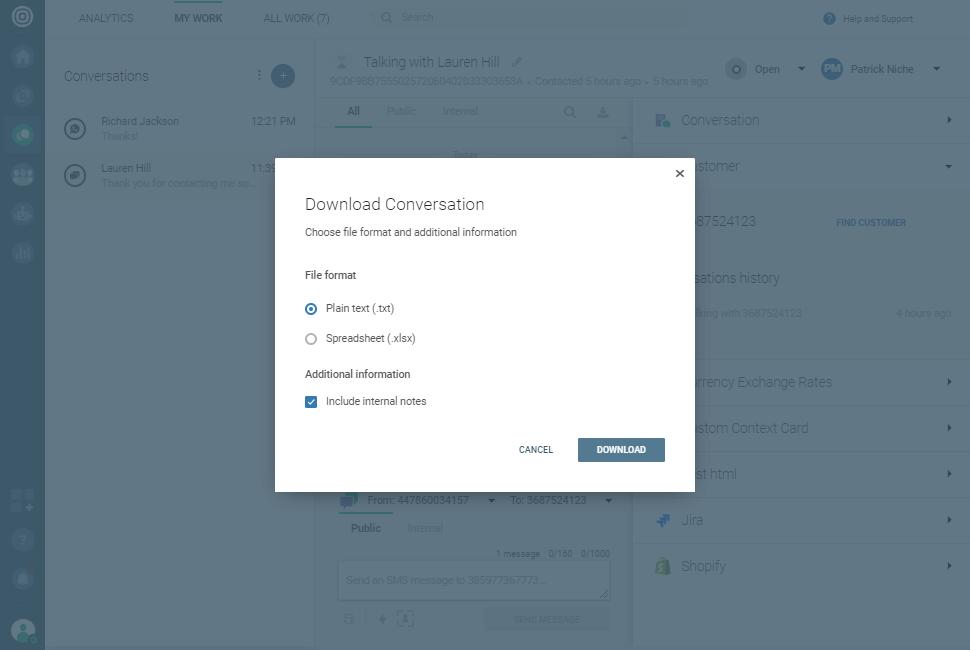 Conversations - Download conversation