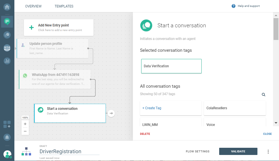 conversation tag on cpaas