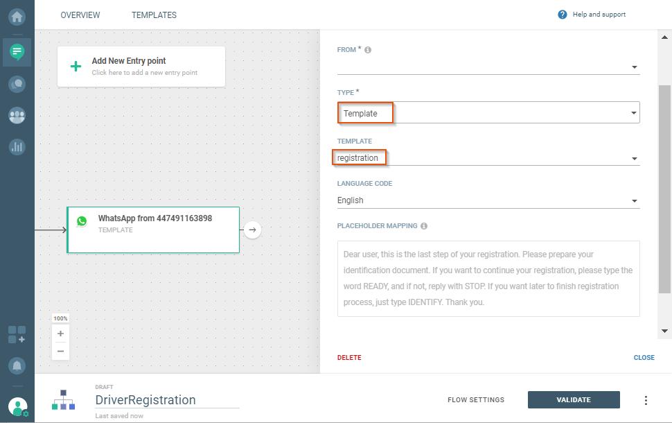 sending whatsapp for user registration