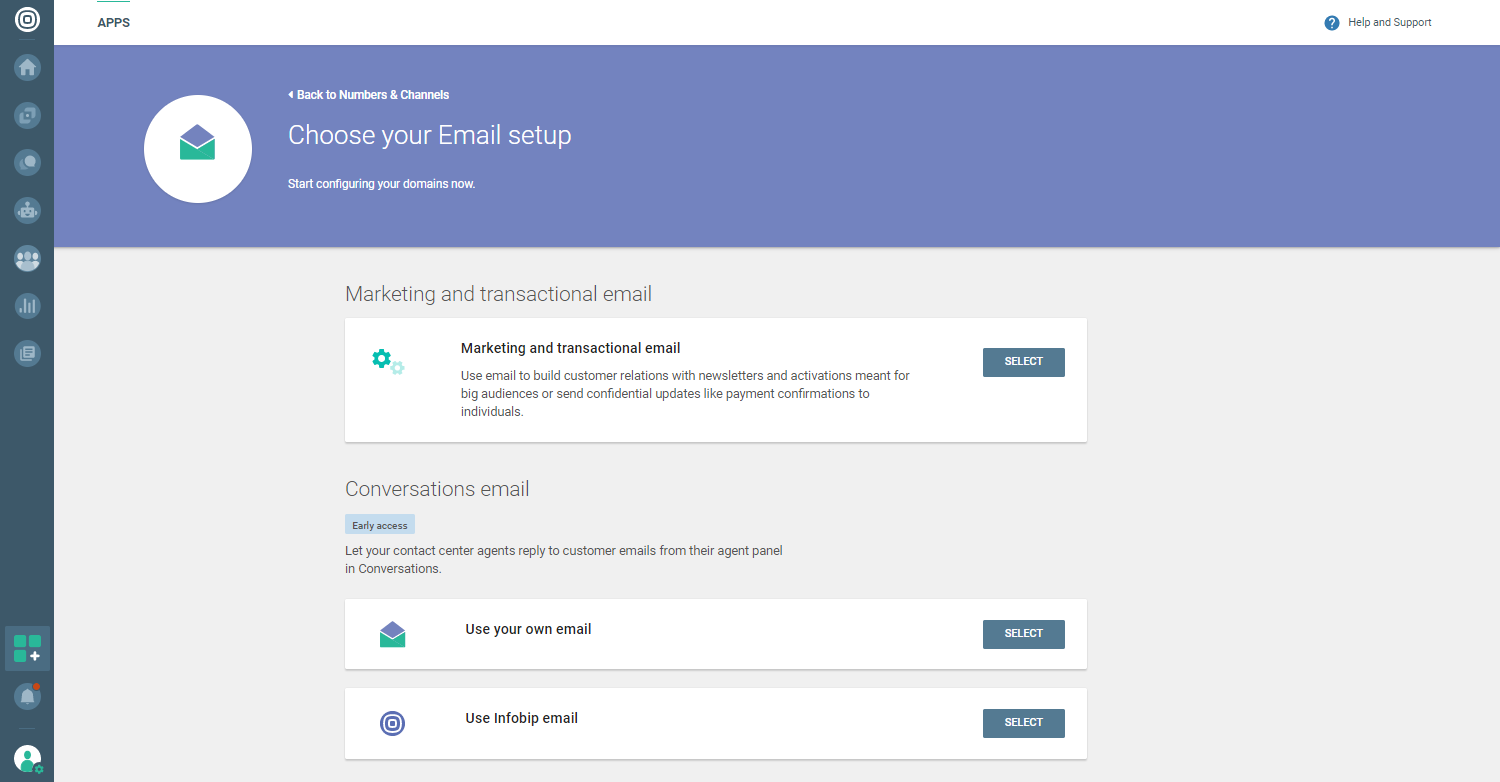 Conversations - Choose Email setup