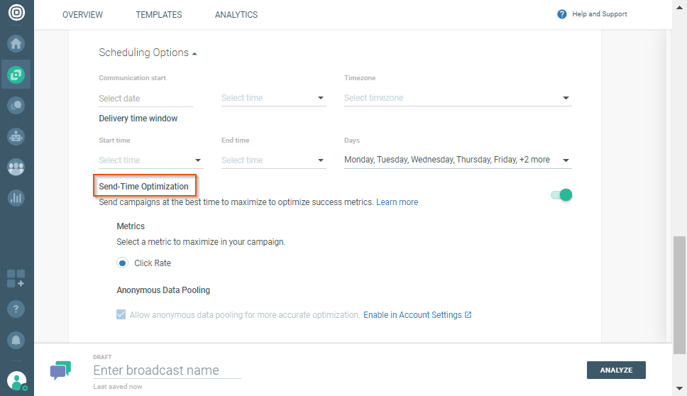 enable send time optimization in broadcast