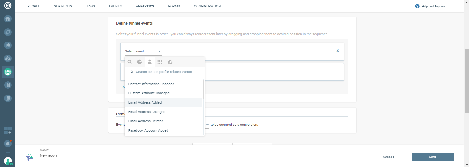 Events in funnel analytics