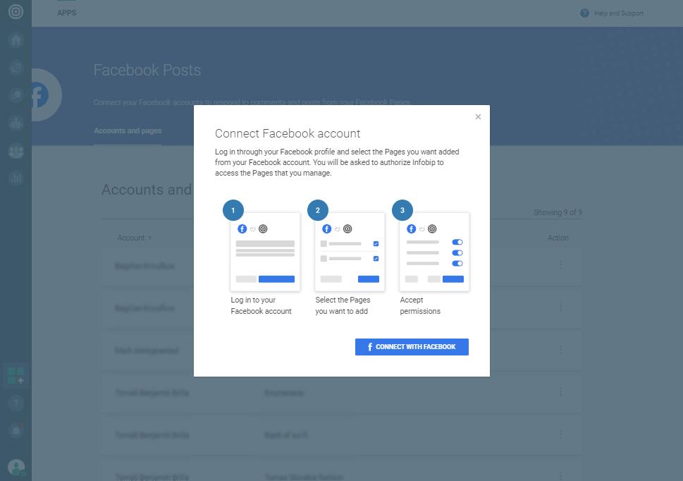 Social Media - Facebook Posts log in