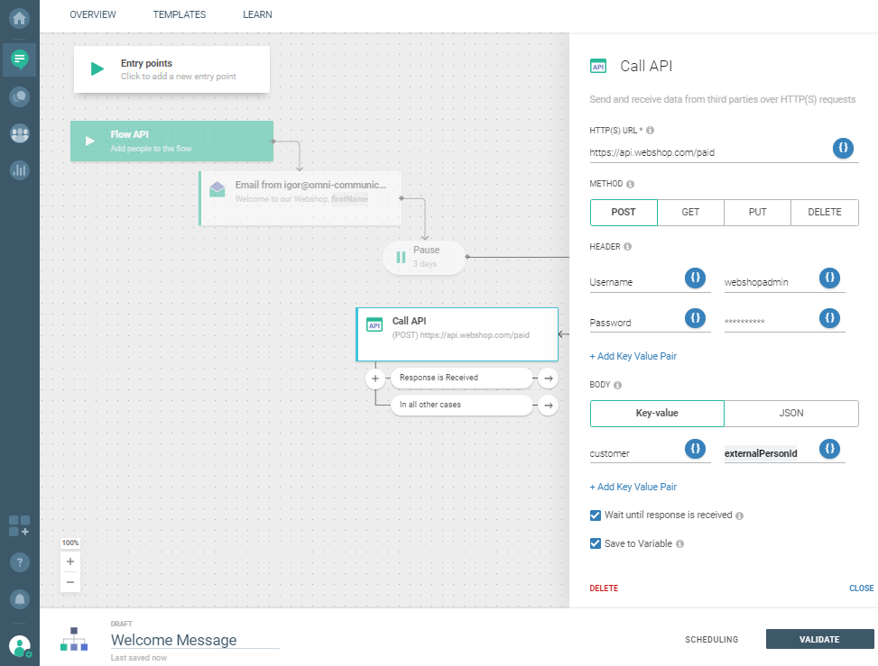 Flow use case - Automate Your Welcome Messages - add call API details