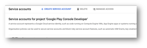 Google Play Reviews - Create new service account