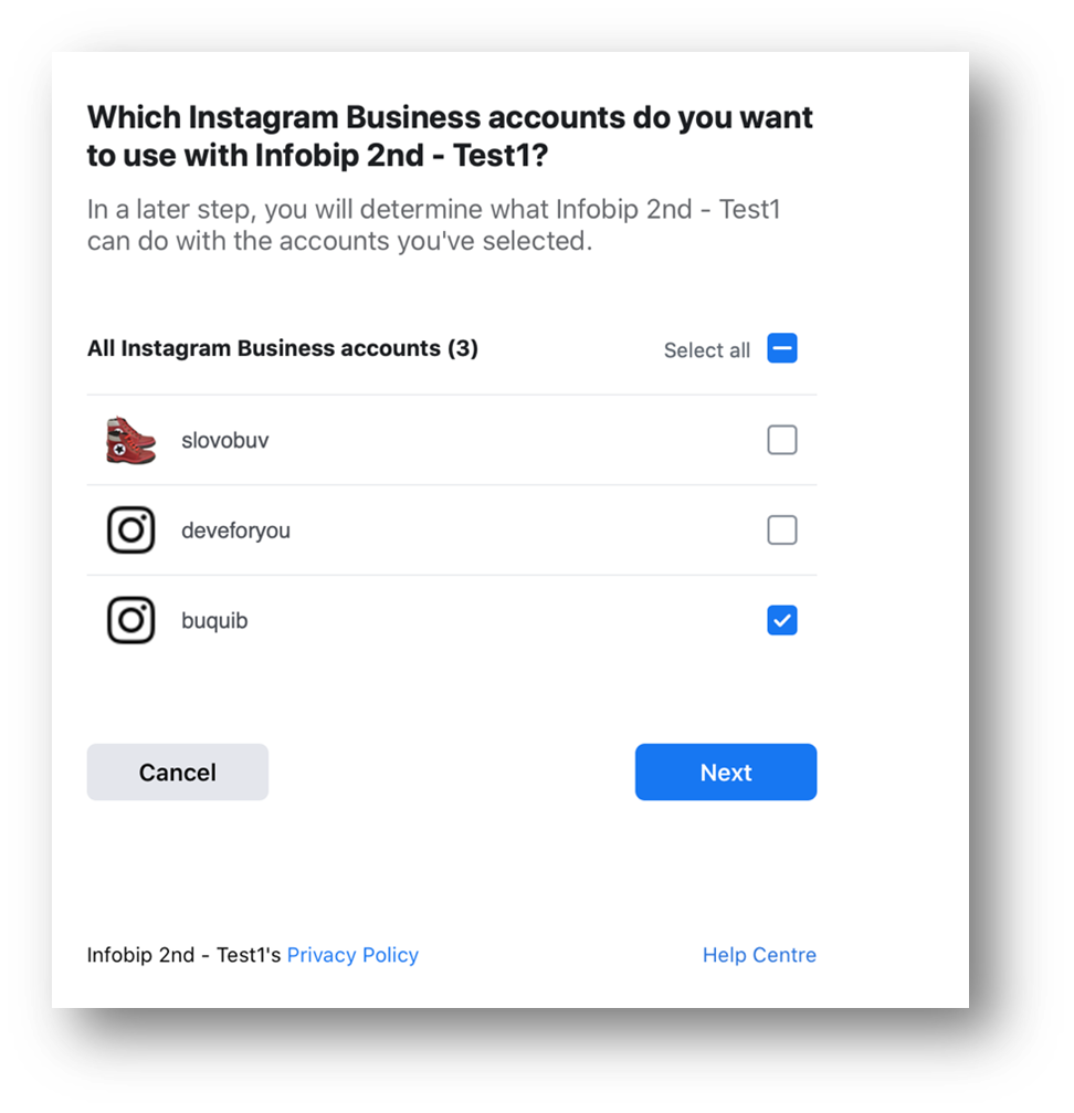Social Media - Choose Instagram pages to connect