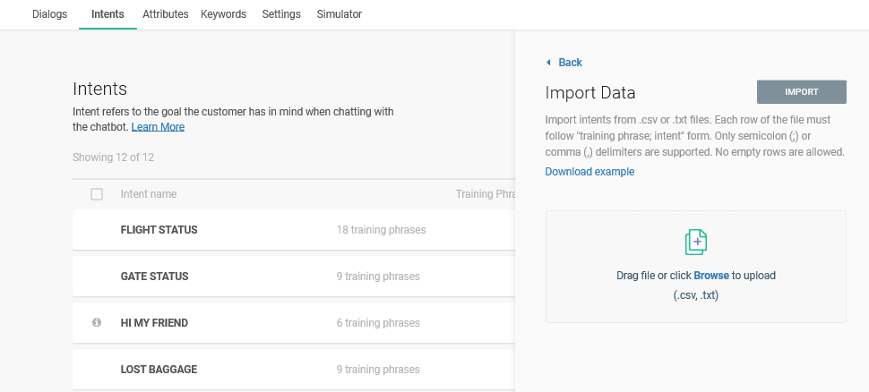 Browse intent file for import
