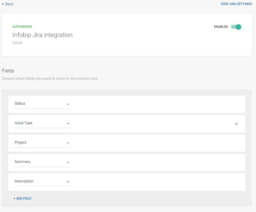 Jira to Infobip integration - customization settings