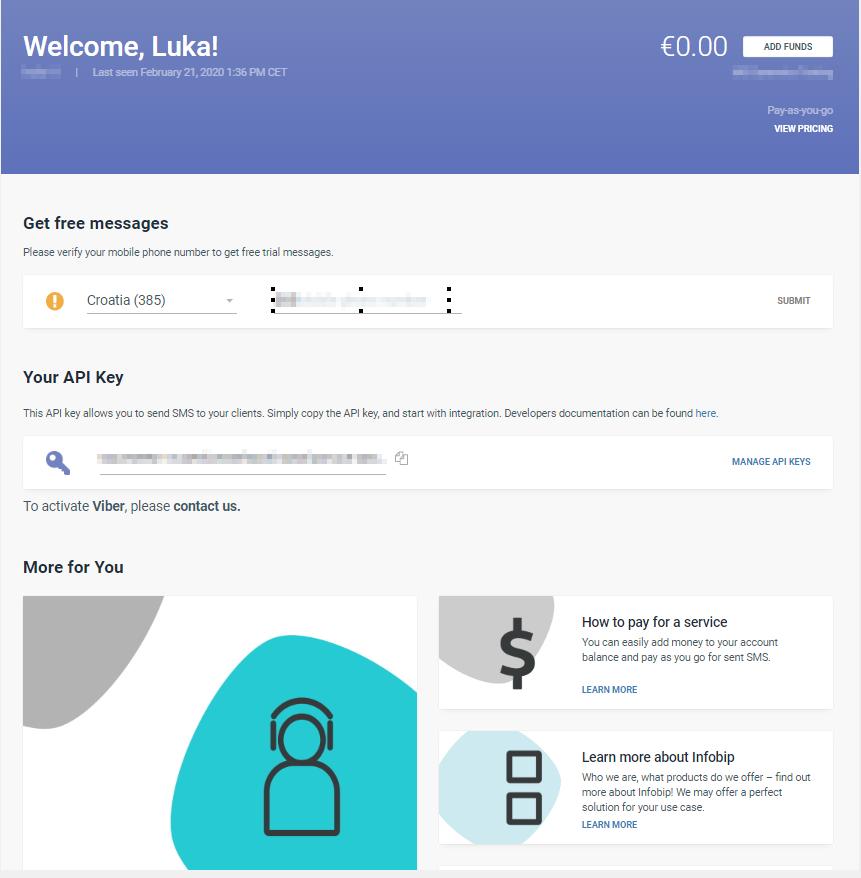Infobip Web Interface - API key