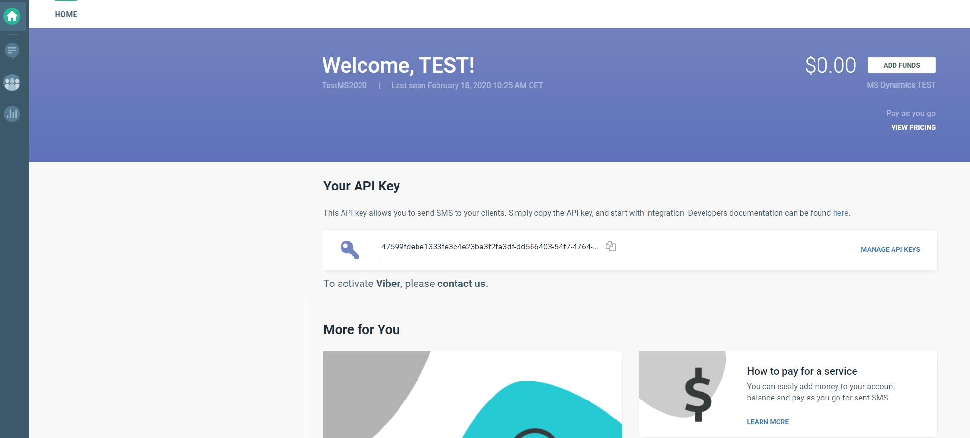 Infobip web interface home page