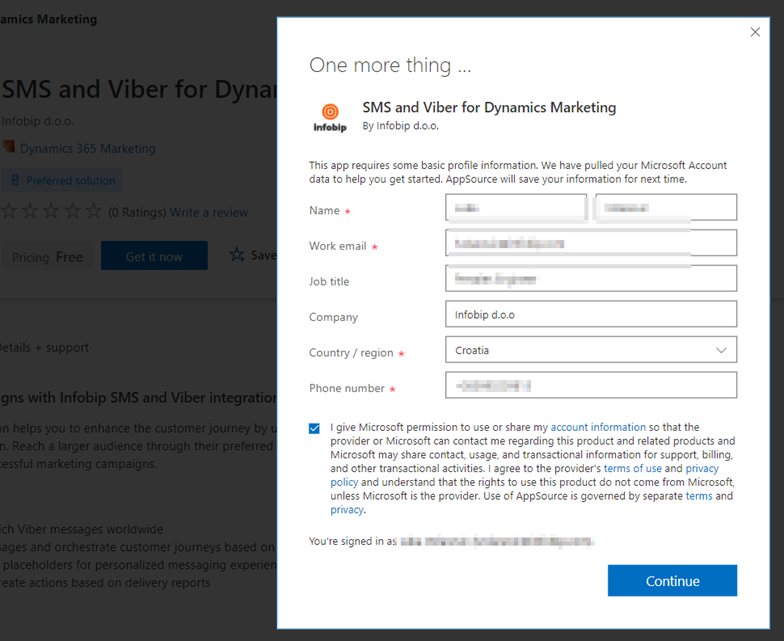 Infobip plugin for Dynamics Marketing