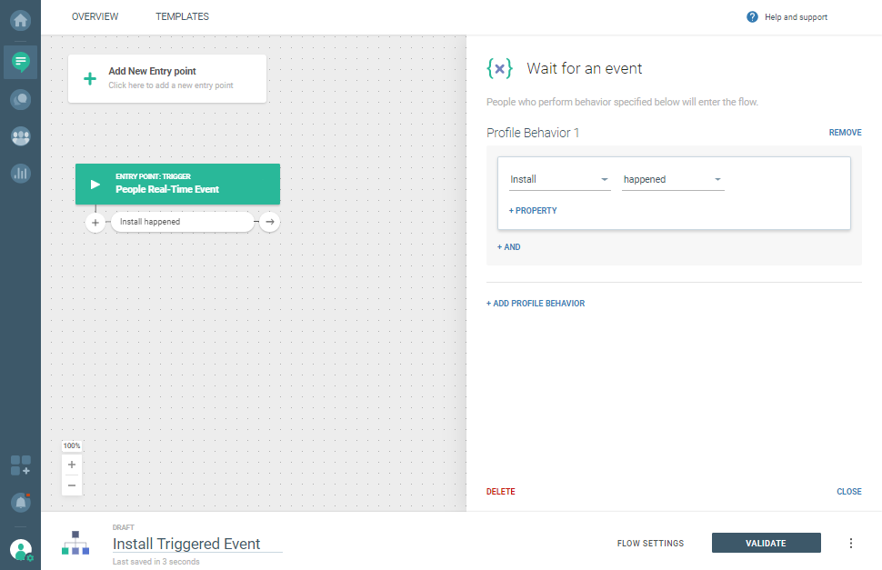 Configure the Wait for event section for Install use case