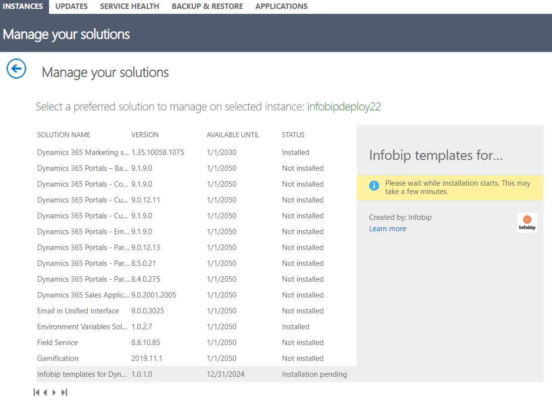 Manage your solutions - Dynamics 365 Administration Center