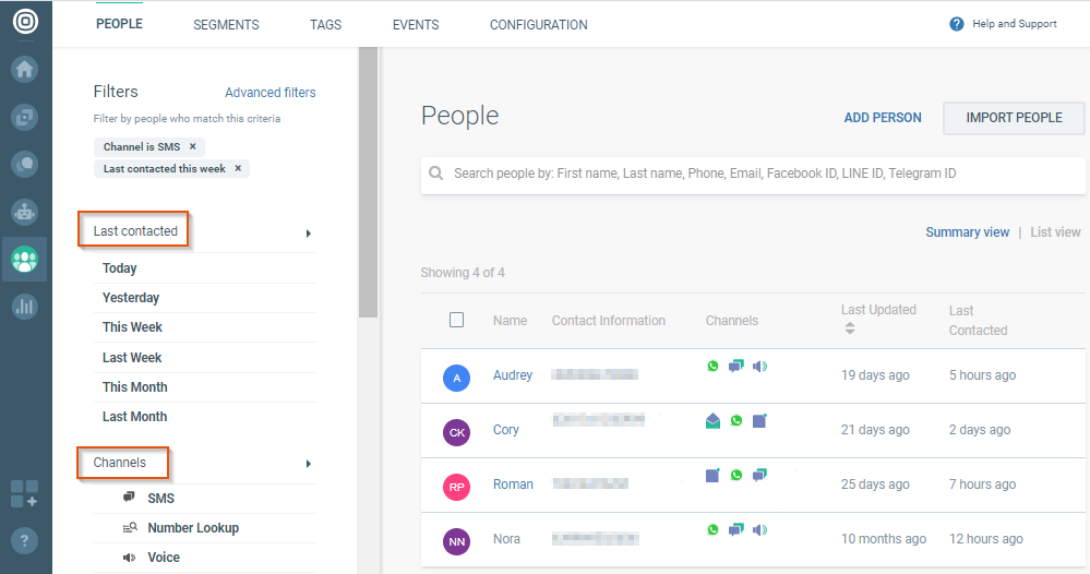 last contacted person per channel on cpaas