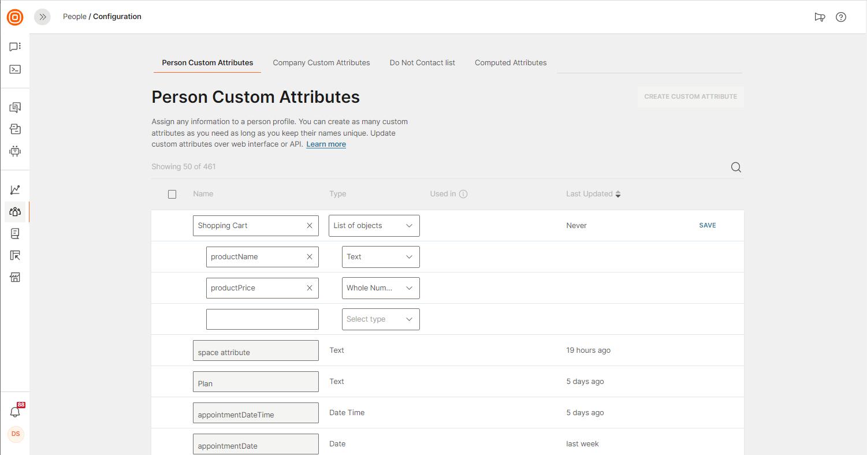 creating list type user attribute