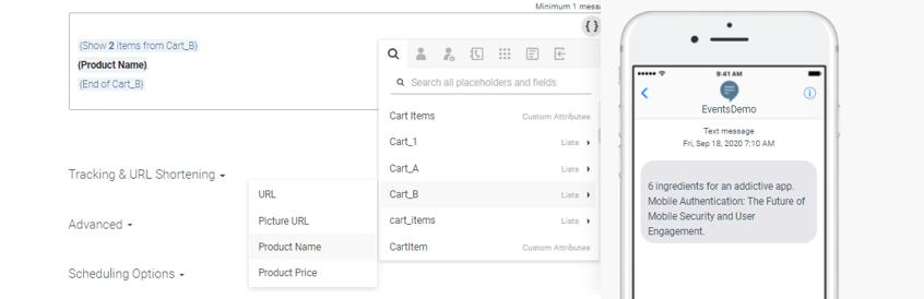 sending cart items as list attributes