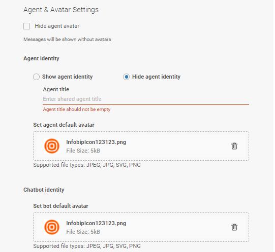 Live Chat - Set avatar settings