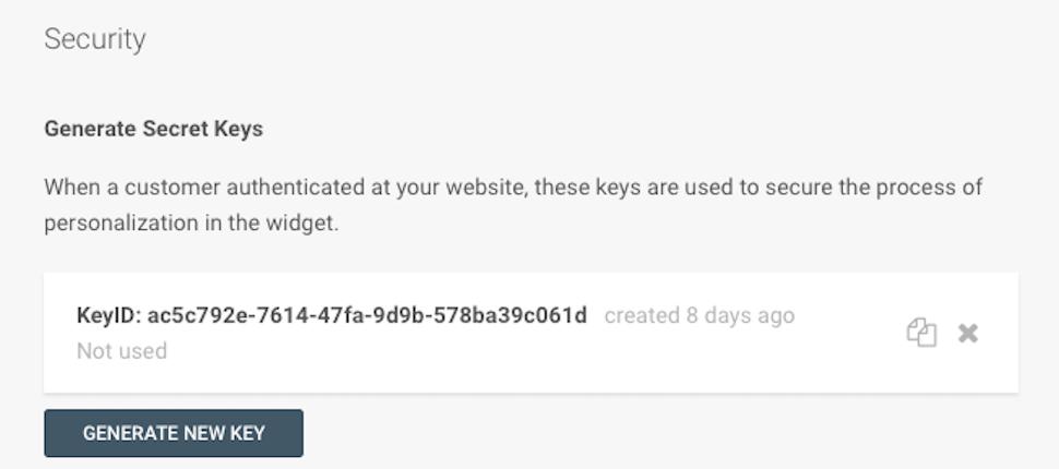 Live Chat - Generate secret key ID
