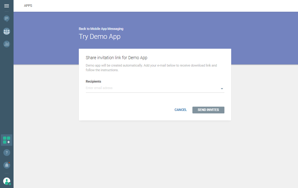 Live Chat - Try demo app recipients