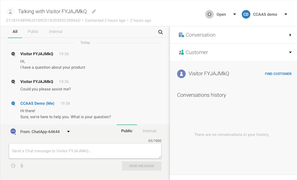 Live Chat in web interface - Conversations thread - agent experience