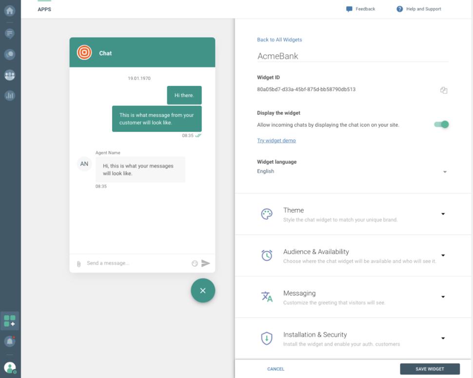Live Chat - Language widget customization