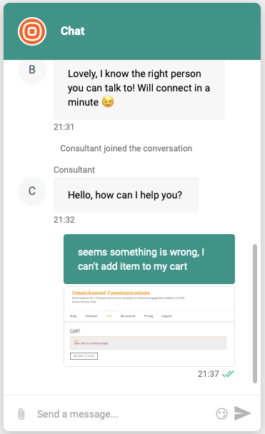Live Chat - Widget features chat