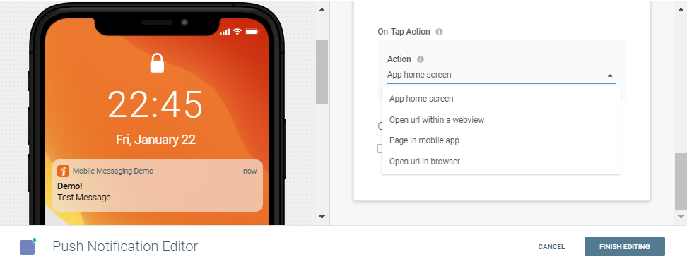 buttons in push notification editor