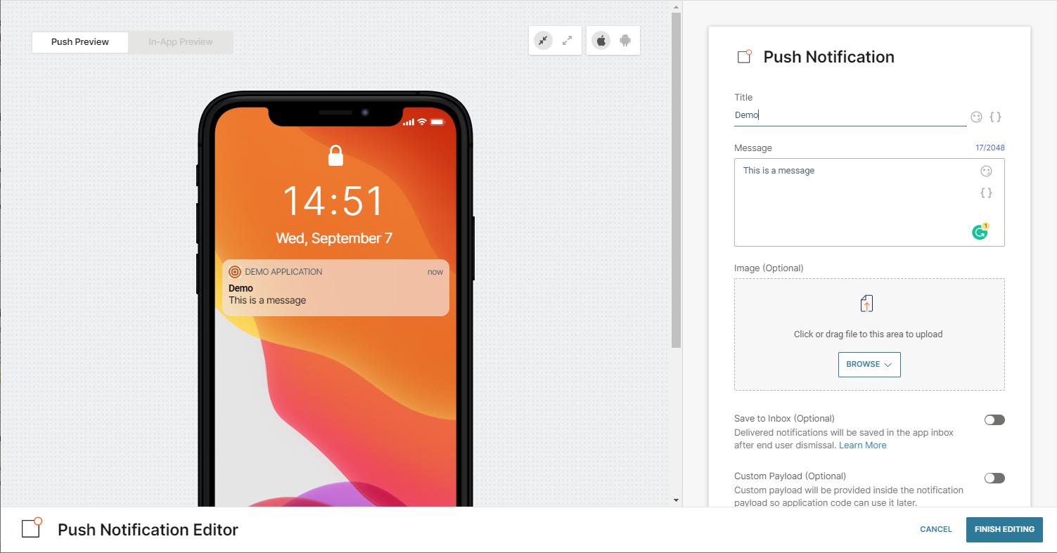 mobile app messaging on engagement platform
