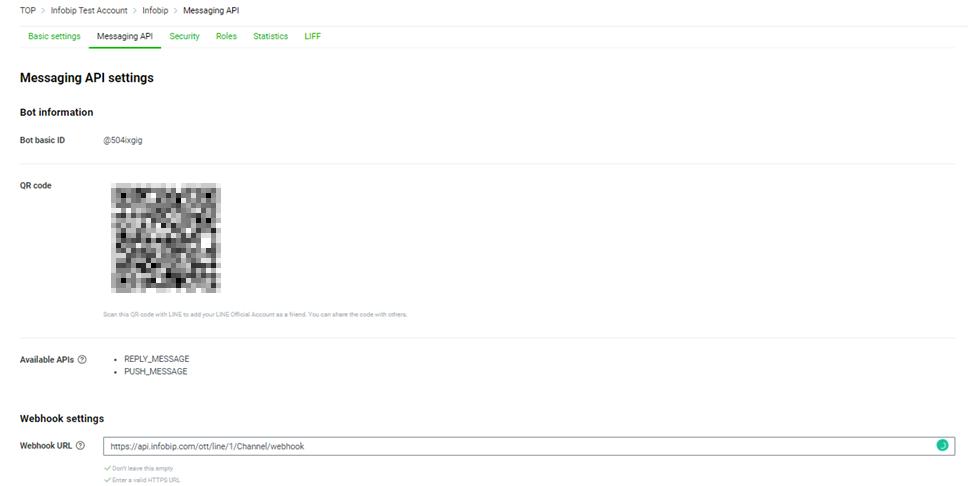 Messaging API settings