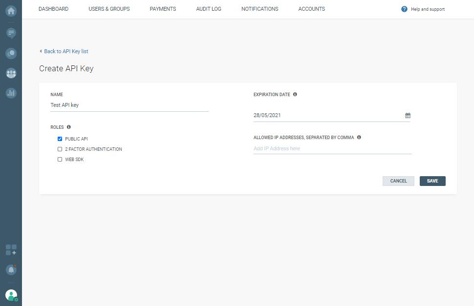 Create API key - Microsoft Bot Framework integration