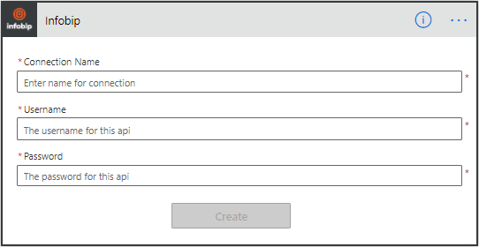 Microsoft Power Automate - enter Infobip credentials
