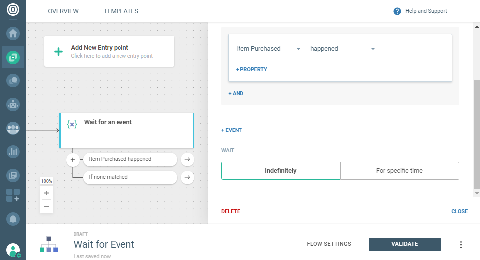 user actions on customer engagement platform
