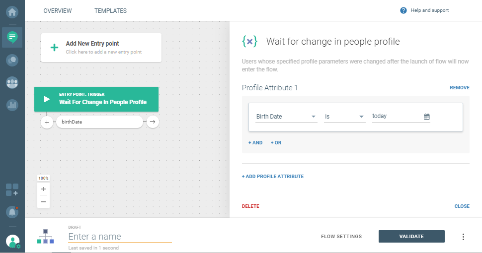 communication based on change in user profile