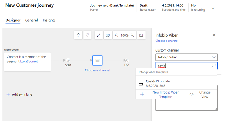 Add a template to customer journey