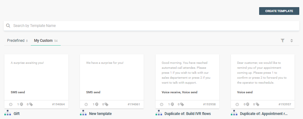 creating new template in saas