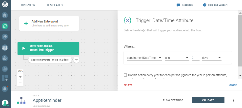 communication trigger based on date and time