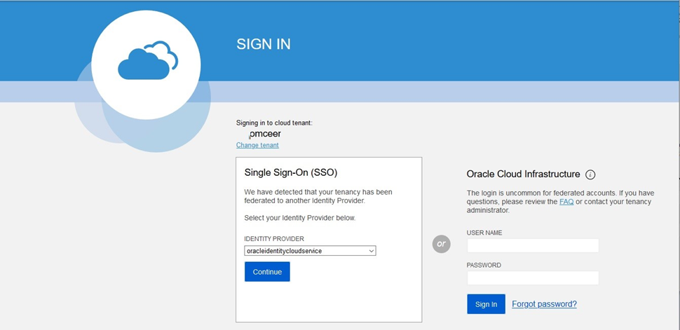 Oracle account sign in
