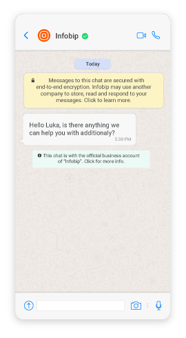 Oracle Responsys over Infobip WhatsApp channel message example
