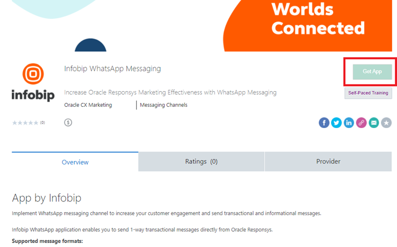 Infobip plug in for WhatsApp on Oracle Responsys