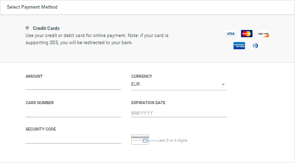 selecting payment method on cpaas