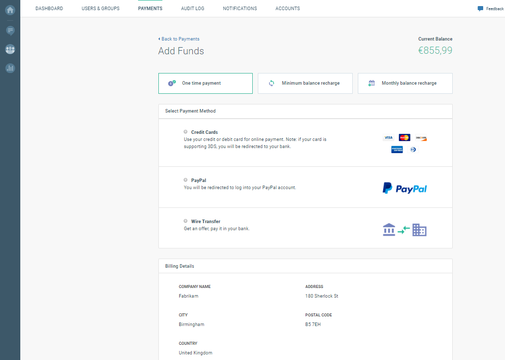 adding funds to cpaas