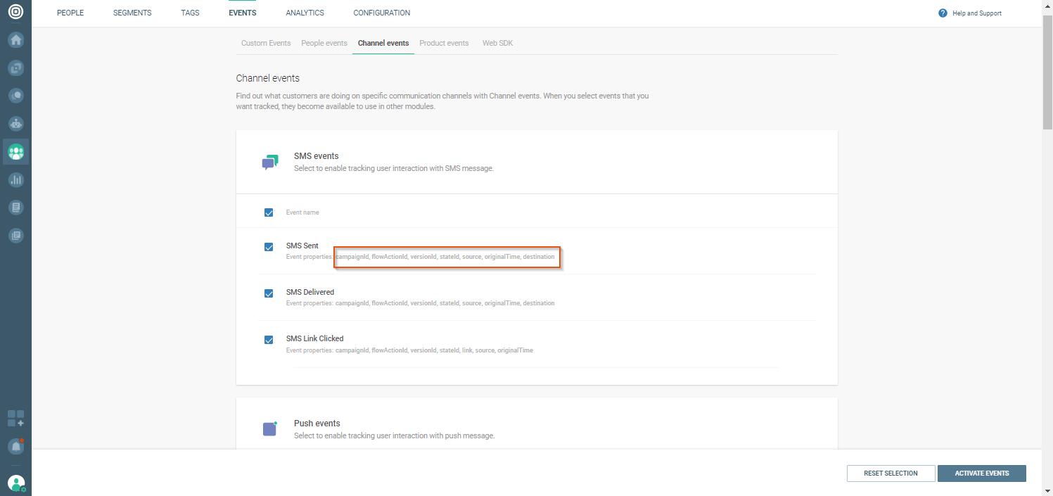 Channel events on customer data platform