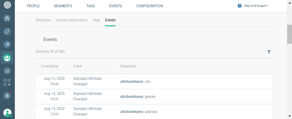 internal events visible on user profile cards