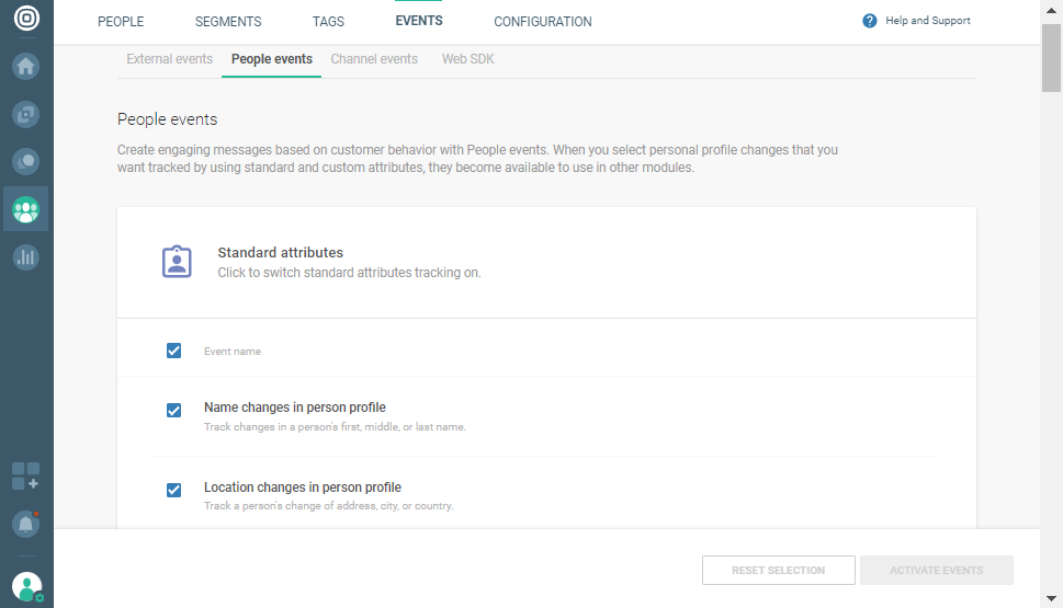 events created by user activity