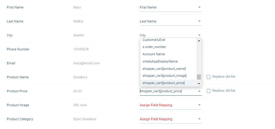 Mapping lists during import