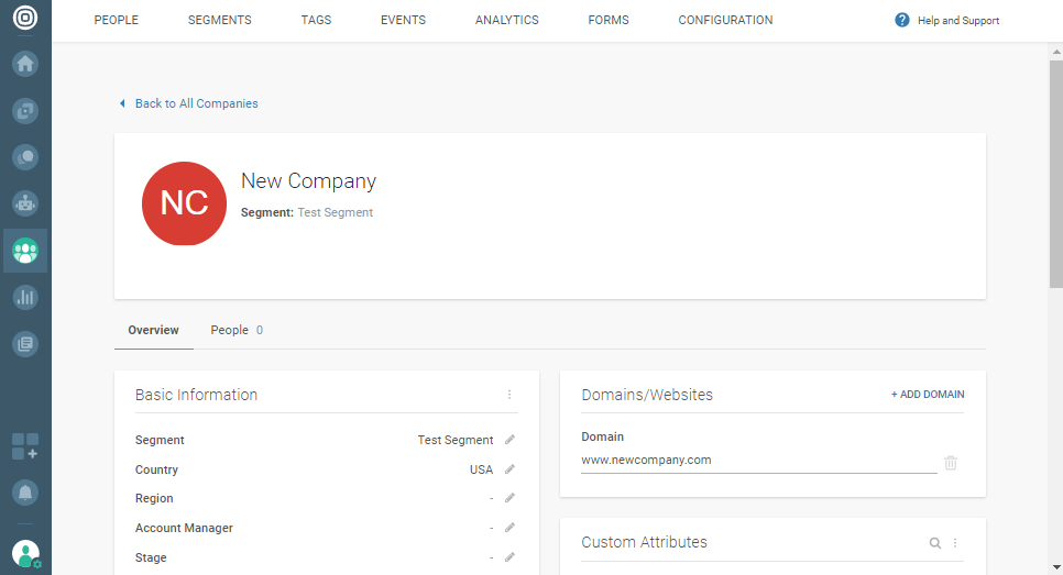Company profile overview on People data platform