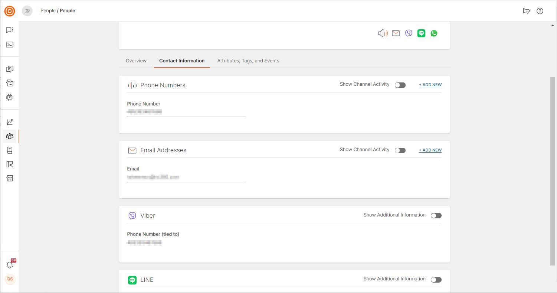 contact information per profile on data platform