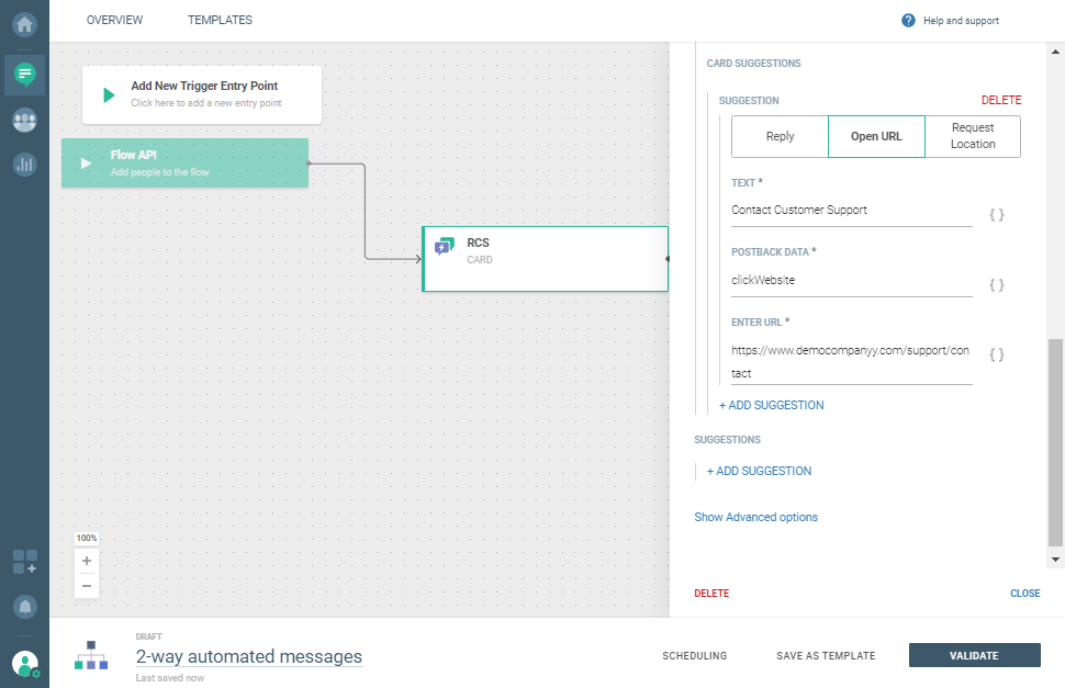 Add Send RCS message element for order confirmation use case