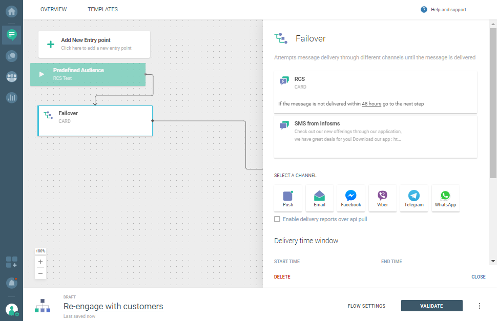 Add the failover element - RCS and SMS